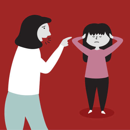 Mom yells at her daughter. The child does not listen, covers his ears with his hands. Child abuse. Editable Vector Illustration