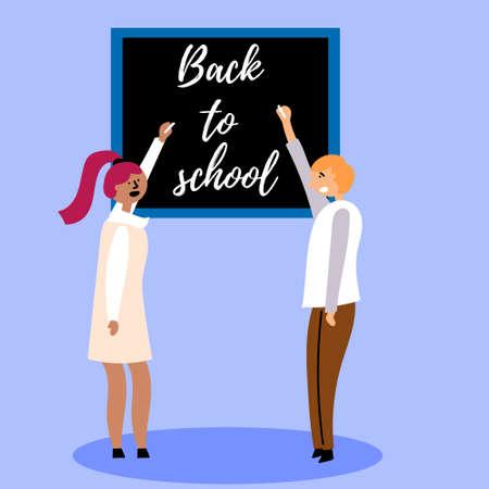 Pupils write a congratulatory inscription on the blackboard with chalk. Back to school. Editable Vector Illustration