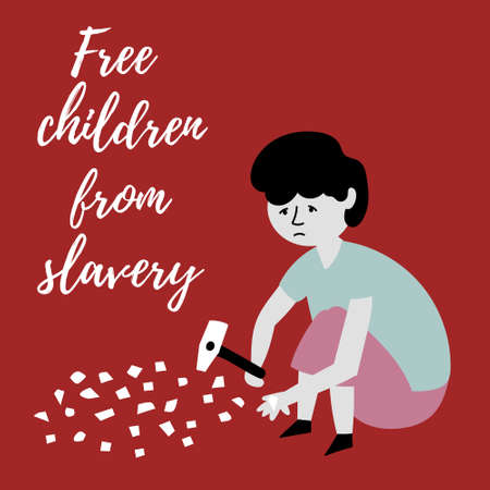 The boy splits stones into small pieces with a hammer. The slave trade of children. Child abuse. Editable vector illustration