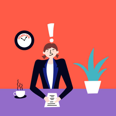 The girl does not have time to meet the deadline for work. Stressful situations. Editable Vector Illustration