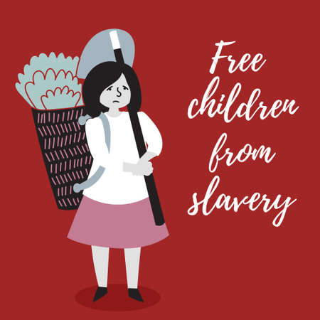 The girl is harvesting. The slave trade of children. Child abuse. Editable vector illustration