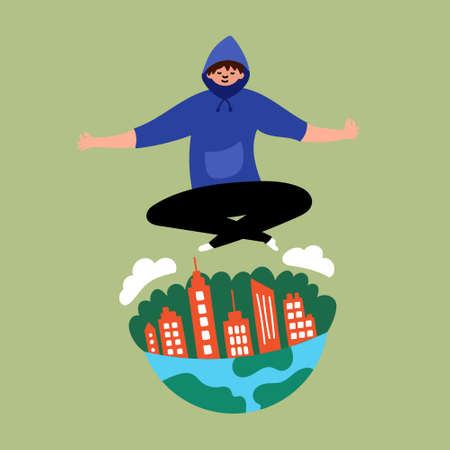 The guy levitates over the city. Lord of the world. Levitating. Editable vector illustration