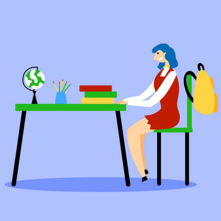The student is sitting at a desk in the classroom. Study at school. Back to school. Editable Vector Illustration Stock Illustratie