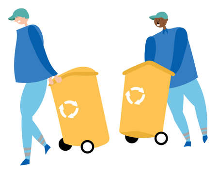 Workers collect garbage and carry containers for recycling. Waste reduction. 向量圖像