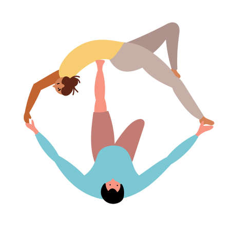 A couple in love, girls and men do yoga. Joint meditation.