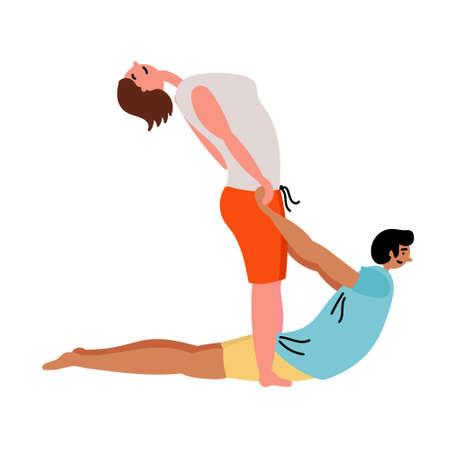 A man and a girl do yoga. 일러스트
