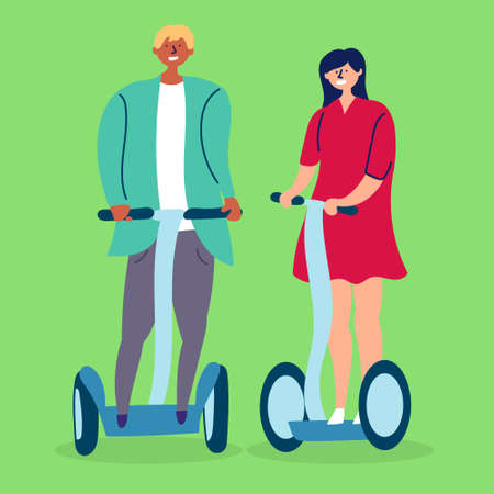 A young couple girl and boyfriend ride a hoverboard. Eco-friendly transport. Stock Illustratie