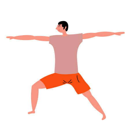 A young guy doing yoga. Illustration