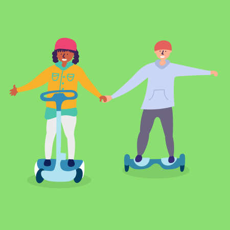 Children ride on electronic transport hoverboard.Eco-friendly transport. Vettoriali