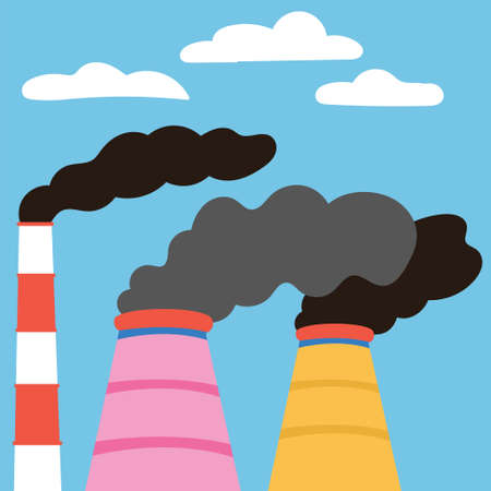 Ecological disasters. Air pollution emissions from manufacturing plants. Exhaust emissions. Ilustrace