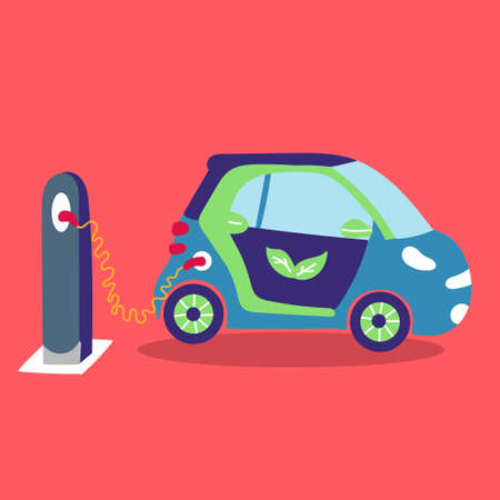 Electric car is charging on the street. Eco-friendly transport. Stock Illustratie