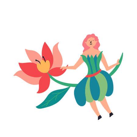 Fairy-tale character fairy sitting on a flower sprig. Fairytales. Editable Vector Illustration Иллюстрация