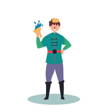 Fantastic character prince with a glass in his hand. Fairy tales. Editable Vector Illustration