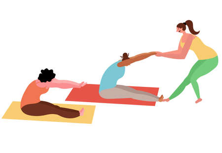 Female group yoga classes with an instructor. 일러스트