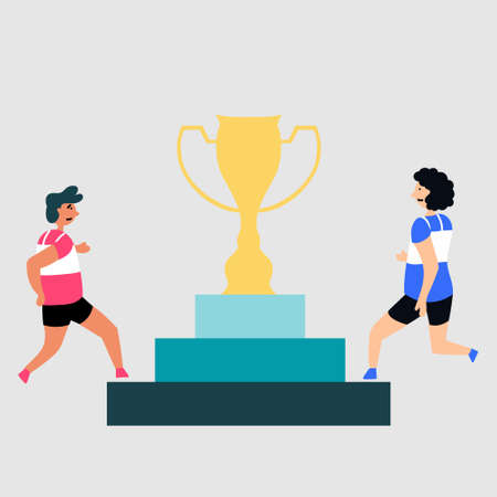 Fight for the award cup. Competition in the sport. Pedestal. Vector editable illustration