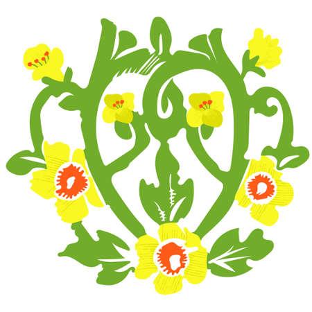 Floral floral ornament. Monogram canola, canola. Yellow, green colors.