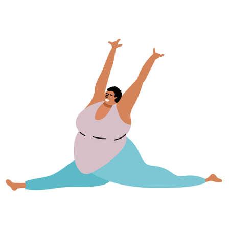 Full black girl doing yoga. Body Positive.