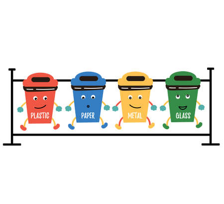 Funny recycling trash plastic, paper, metal, glass. Waste distribution. Waste reduction.