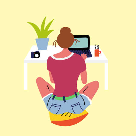 Girl resting sitting on a pillow and looking into a laptop. Satisfied people in comfort. Ilustração