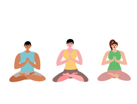 Group yoga class man and women. Illustration