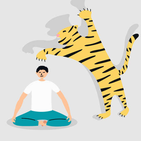 In any dangerous situation, be calm. Tiger attack. Yoga Metaphor.
