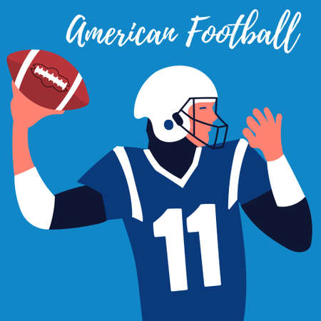 Poster rugby player makes a throw. Quarterback American football. Rugby ball.