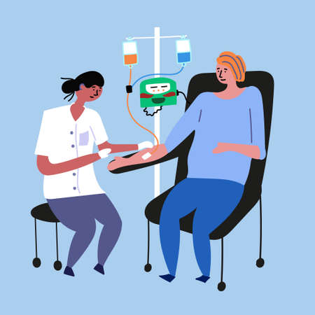 The doctor does chemotherapy for a cancer patient. Cancer girl. Medical procedures. Ilustração