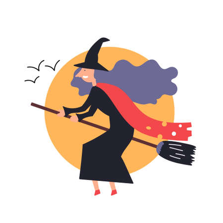The fantastic character the witch flies sitting on a broomstick. Fairy tales. Halloween Editable Vector Illustration