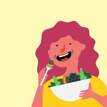The girl eats fresh salad. Healthy food.