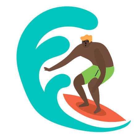 The guy caught the wave and rolls on the surfboard. Surfing in the ocean. Mass tourism.  イラスト・ベクター素材