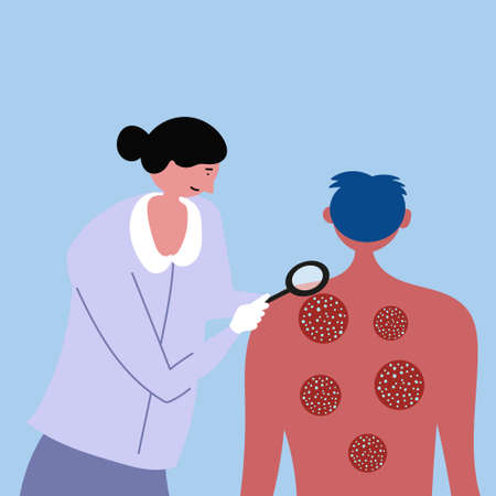 The guy is being examined by a doctor. Psoriasis, eczema, skin diseases.
