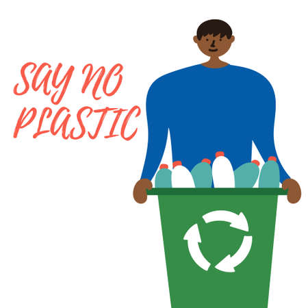 The man collected a container of plastic bottles for recycling. Waste reduction.