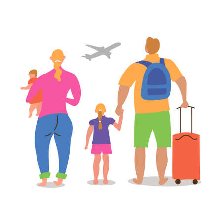 A married couple with children of different nationalities are going on vacation to fly a plane. Came to the airport with luggage. Inspire to travel.