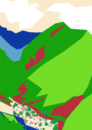 Abstract nature landscape of mountains and village houses in bright colors. Vector editable illustration