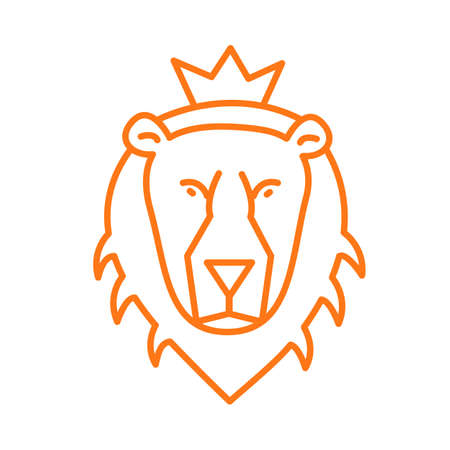 Contour icon of the lion beast Illustration