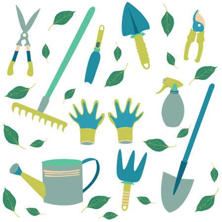 a set of tools for the gardener Иллюстрация