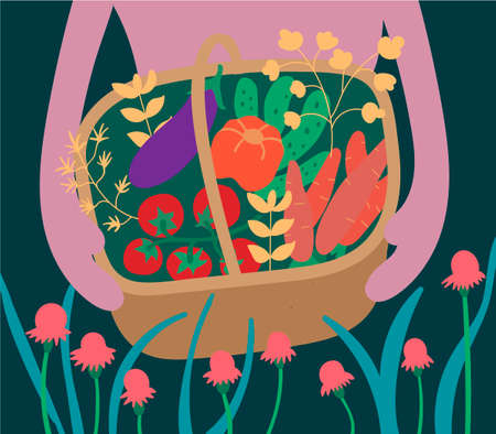 Vegetable harvest in a wooden basket. Cucumbers, carrots, eggplant, tomatoes, peppers, herbarium. Gardening and horticulture. Landscape of thickets of flowers and leaves