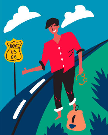 Dark-skinned guy votes on Highway 66 in the USA. Hitch-hiking. Journey through America.