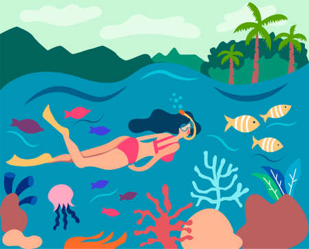 Girl snorkeling in a big barrier reef. Swims in the underwater mask and watches the fish and corals. Sea underwater panorama. Summer flat landscape.