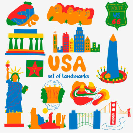 Set of attractions popular places of USA Vectores