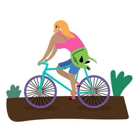 Summer sport cycling. Girl blonde rides a bike. Ecotourism. Summer rest.