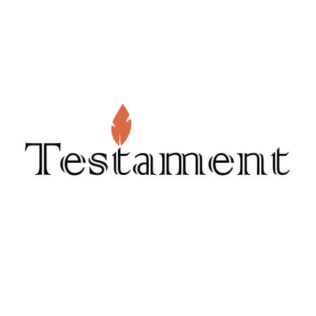 Testament icon text  with orange flame candle in black and white color Stock Illustratie