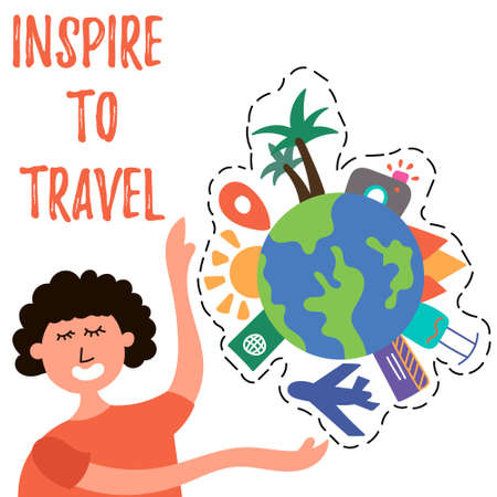 The girl calls to travel around the world. Mass tourism. Inspire to travel. Illustration
