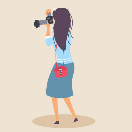 A lady with a handbag takes a picture with a SLR camera in a natural environment. Photographer. Editable vector illustration
