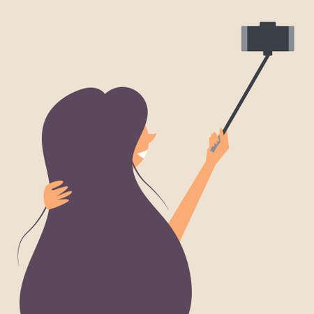 A girl with long hair is photographed on a selfie stick. Photographer. Editable vector illustration Illusztráció
