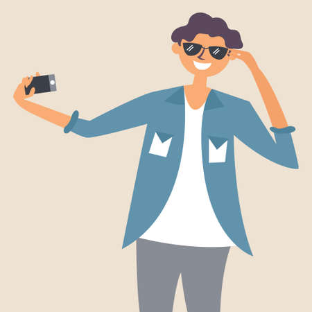 The guy in the sunglasses takes a selfie. Photographer. Editable vector illustration