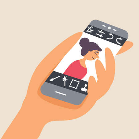 A person processes a photo on a smartphone through a mobile editor. Hand and phone with screen. Vector editable illustration