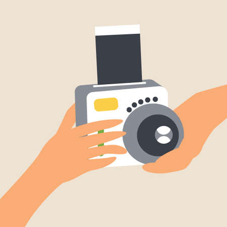 Hands hold camera for instant shots. Photo card appears. Lens. Gadget for photos. Photo card. Flat style editable vector illustration