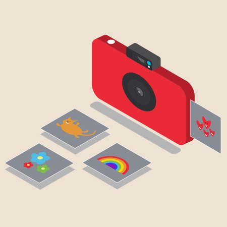 Red camera for instant shots. A snapshot appears with photos of flowers, a cat and a rainbow. Color camera. Lens. Thin gadget for photos. Photo card. Isometry Flat style editable vector illustration Foto de archivo - 129593598