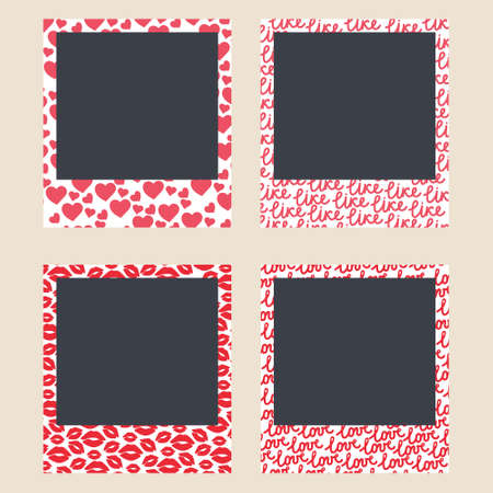 Romantic frames for instant shots. Photo frames with hearts, kiss, text inscriptions to love and like. Set of photo card templates for photographs. Vector editable illustration